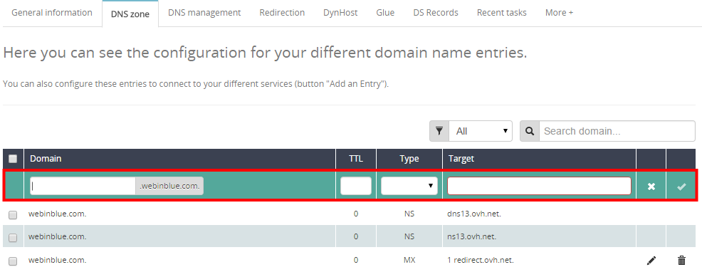 Step 1 e for delegating your subdomain to SendinBlue