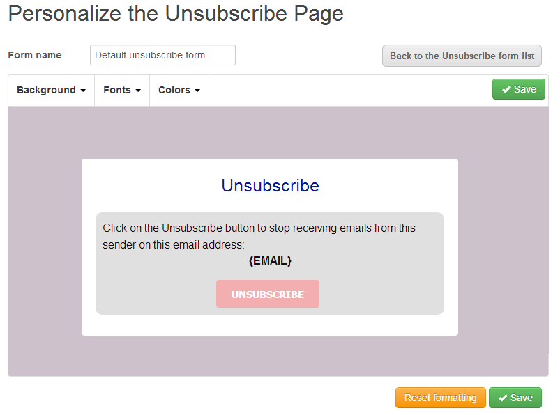 unsubscribepage