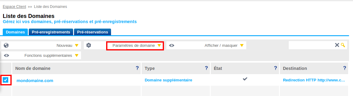 Example step 1 for 1&1: Delegating your domain – Sendinblue