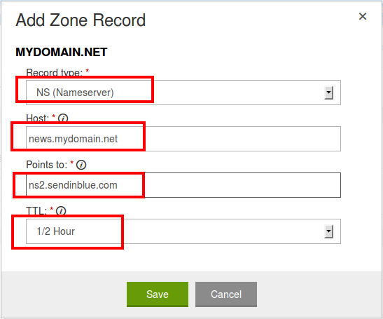 Example step 1 for GoDaddy: Delegation of your subdomain