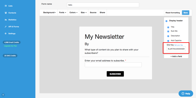 Crear un formulario de inscripción – SendinBlue